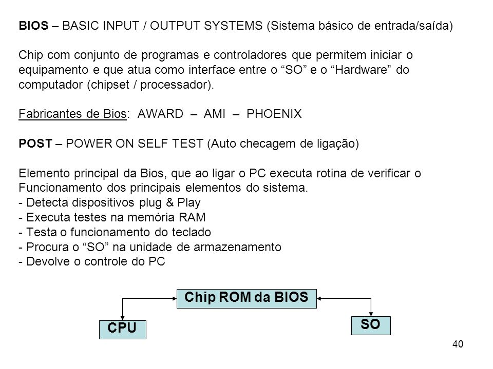 BIOS – BASIC INPUT / OUTPUT SYSTEMS (Sistema básico de entrada/saída)