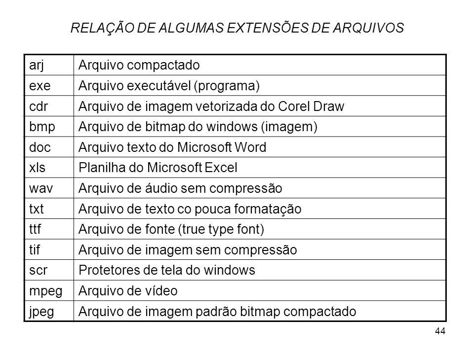 RELAÇÃO DE ALGUMAS EXTENSÕES DE ARQUIVOS