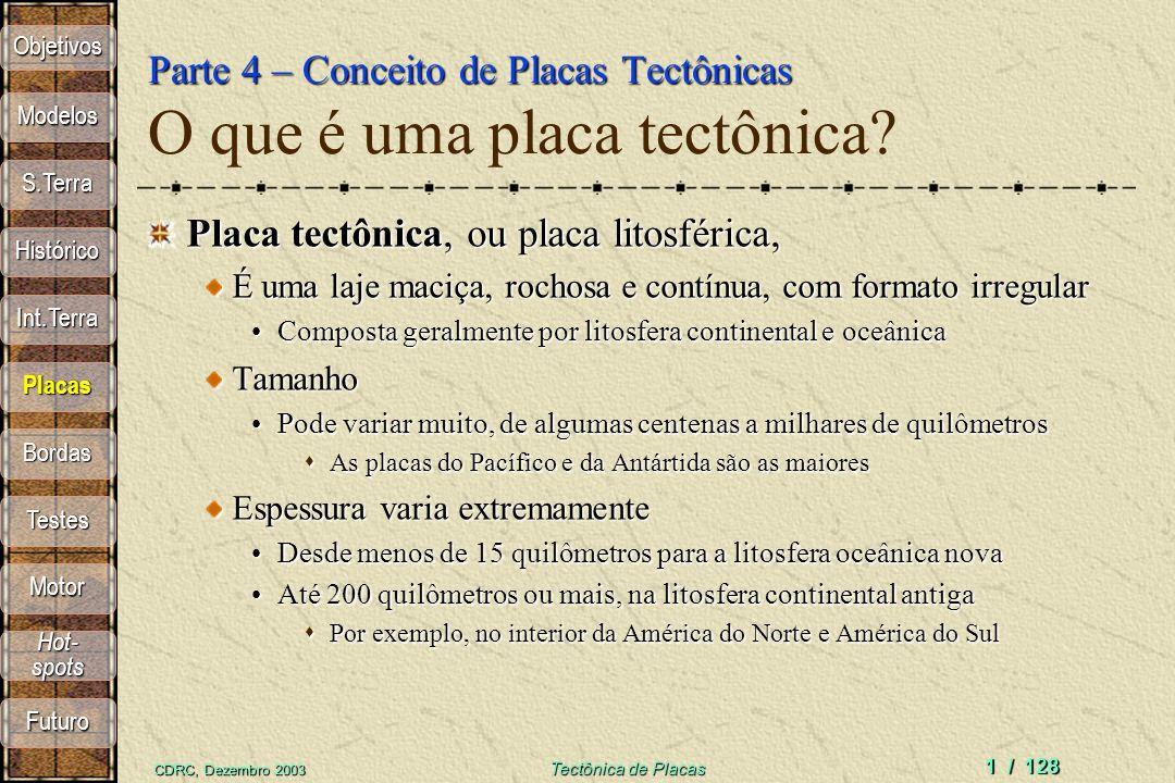 Parte 4 – Conceito de Placas Tectônicas O que é uma placa tectônica
