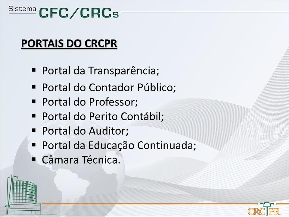 PORTAIS DO CRCPR Portal da Transparência; Portal do Contador Público; Portal do Professor; Portal do Perito Contábil;