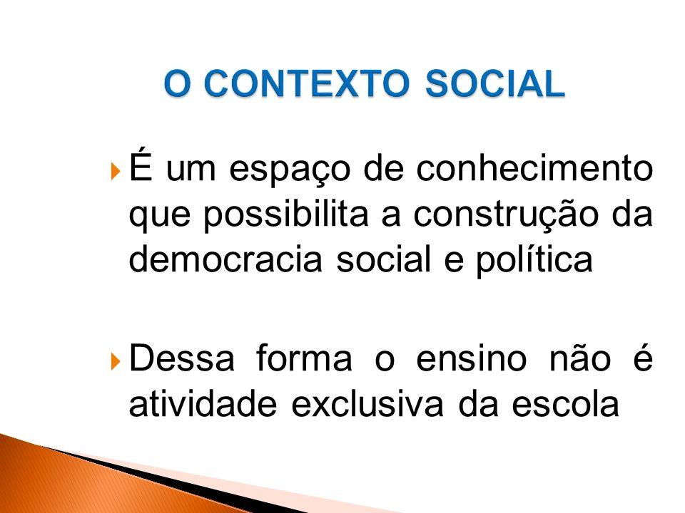 O CONTEXTO SOCIAL É um espaço de conhecimento que possibilita a construção da democracia social e política.