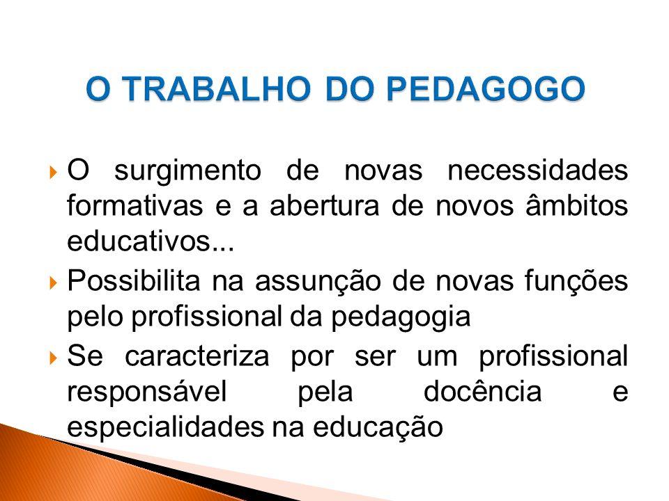 O TRABALHO DO PEDAGOGO O surgimento de novas necessidades formativas e a abertura de novos âmbitos educativos...