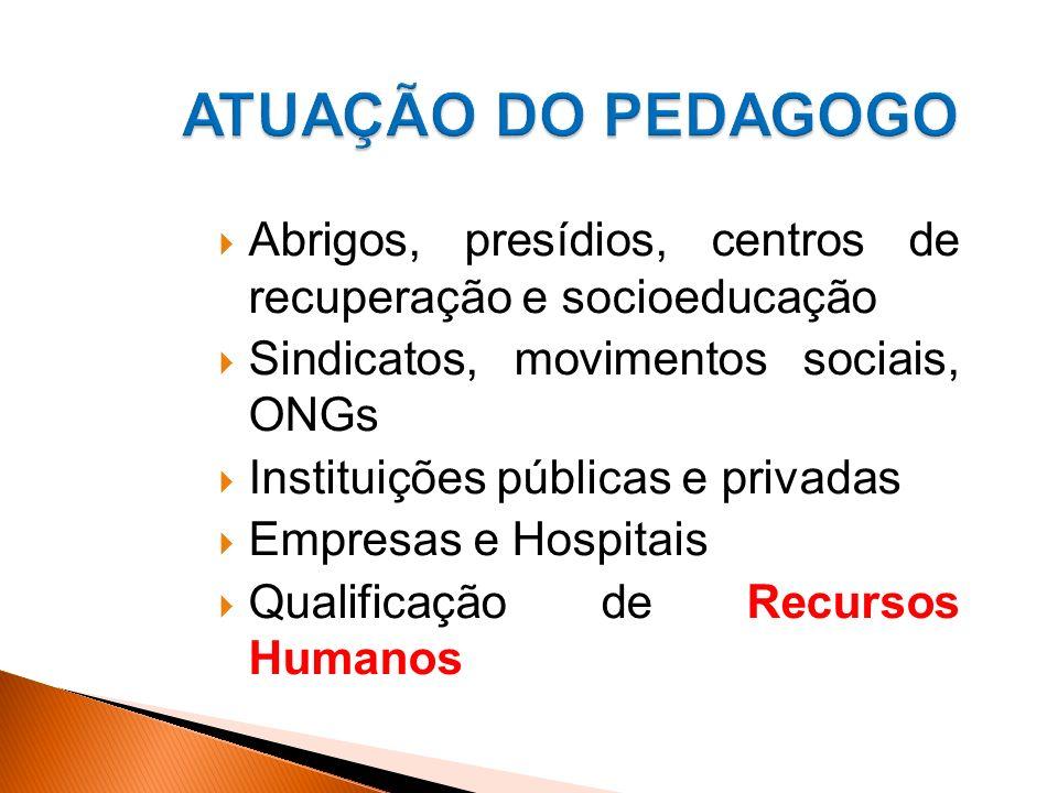 ATUAÇÃO DO PEDAGOGO Abrigos, presídios, centros de recuperação e socioeducação. Sindicatos, movimentos sociais, ONGs.