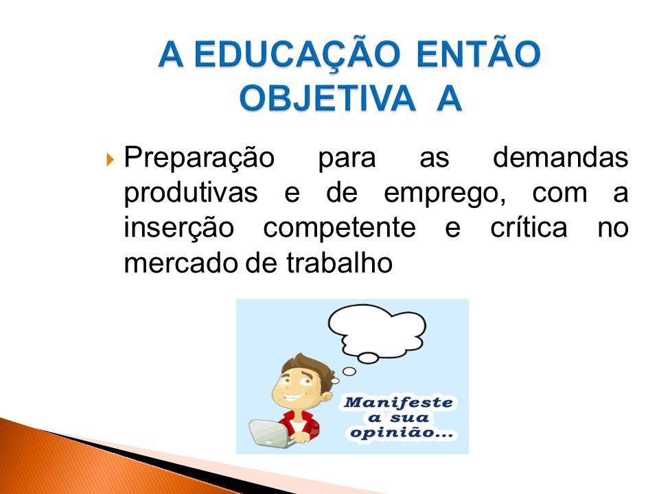 A EDUCAÇÃO ENTÃO OBJETIVA A