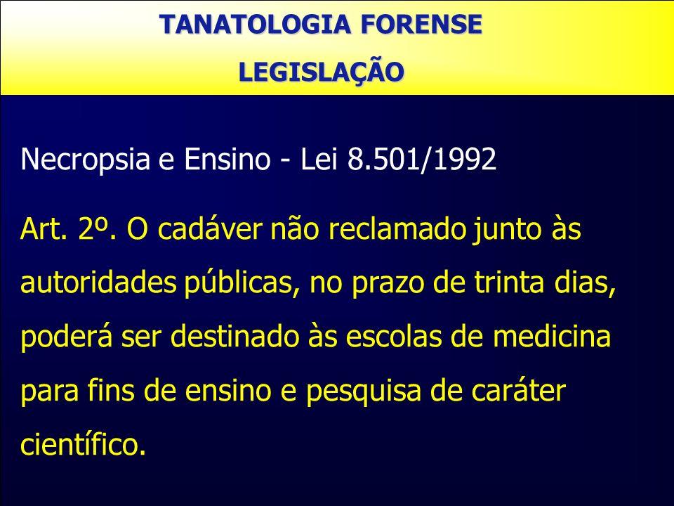 Necropsia e Ensino - Lei 8.501/1992