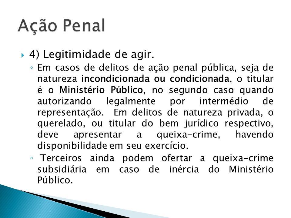 Ação Penal 4) Legitimidade de agir.