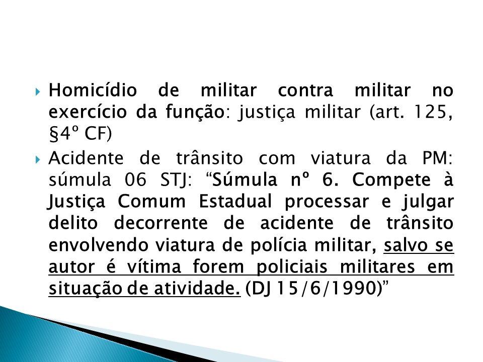 Homicídio de militar contra militar no exercício da função: justiça militar (art. 125, §4º CF)
