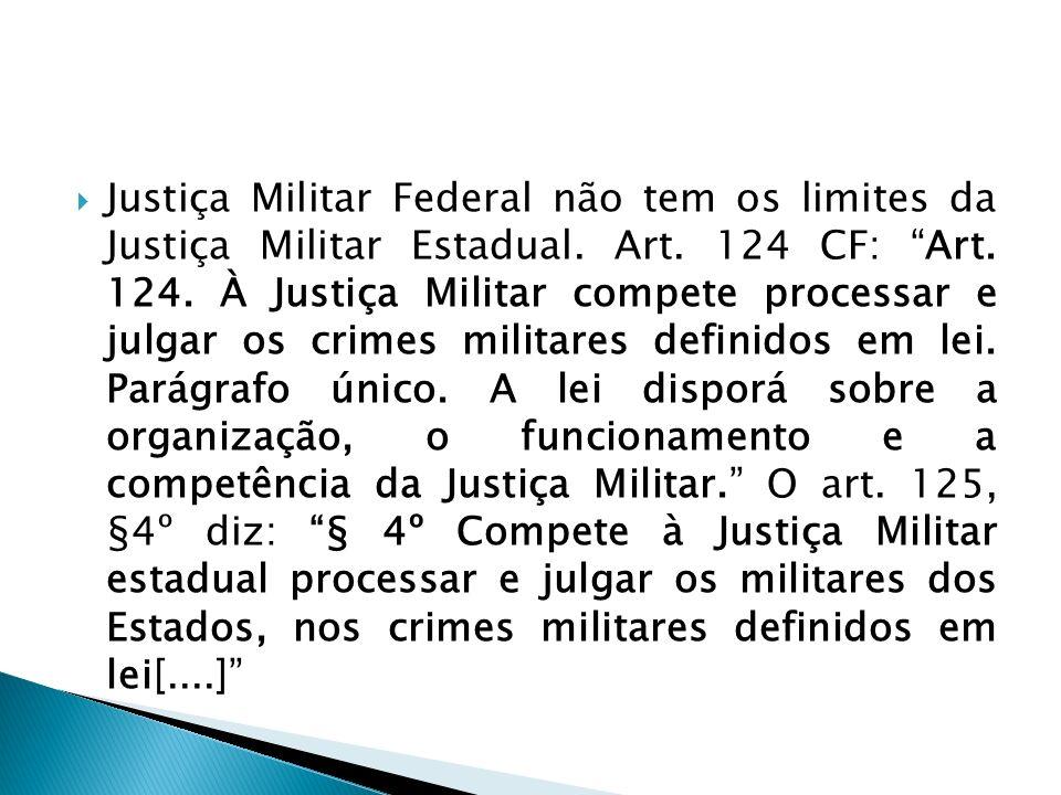Justiça Militar Federal não tem os limites da Justiça Militar Estadual