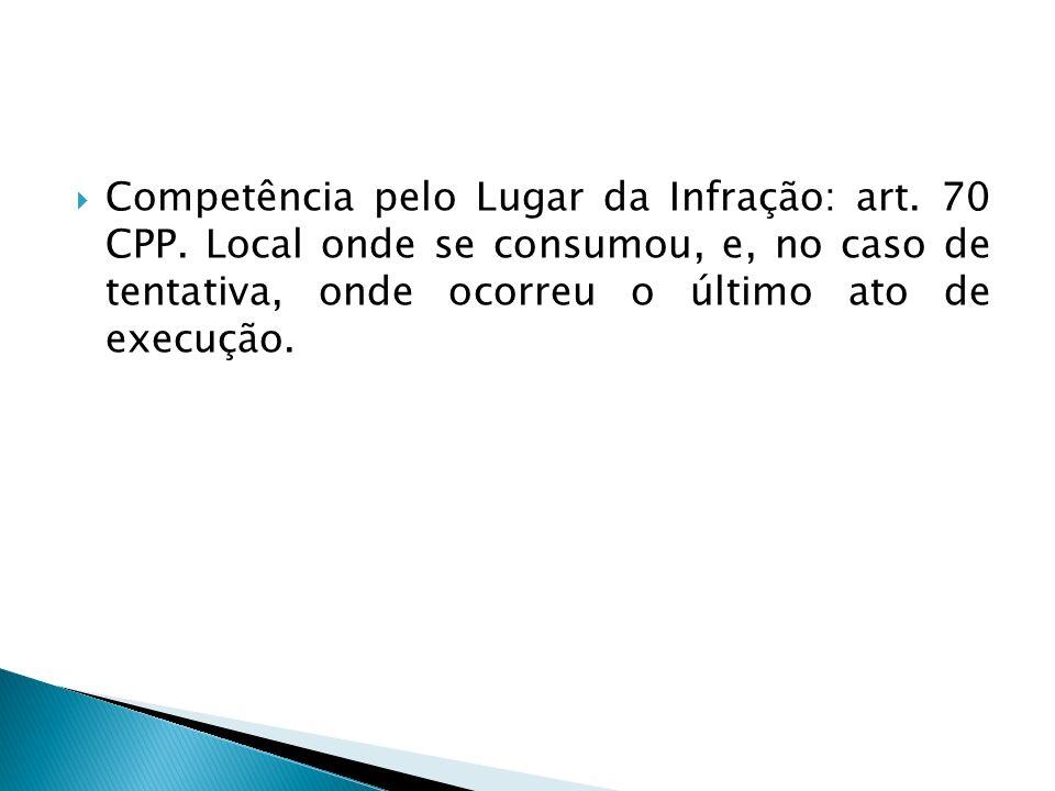 Competência pelo Lugar da Infração: art. 70 CPP