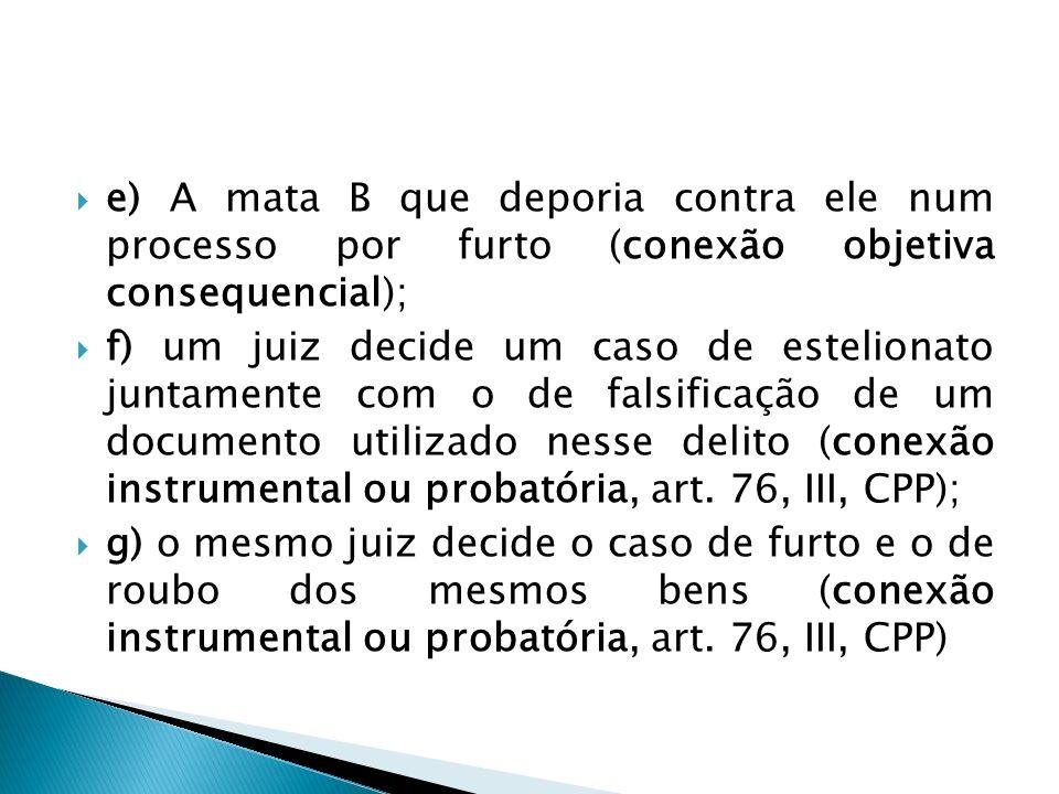 e) A mata B que deporia contra ele num processo por furto (conexão objetiva consequencial);