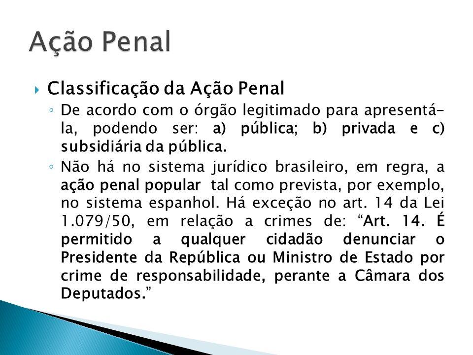 Ação Penal Classificação da Ação Penal
