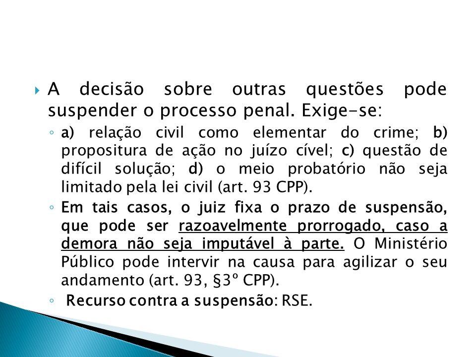 A decisão sobre outras questões pode suspender o processo penal