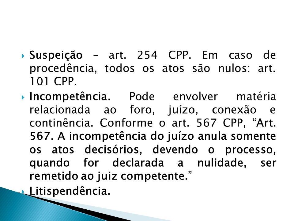 Suspeição – art. 254 CPP. Em caso de procedência, todos os atos são nulos: art. 101 CPP.