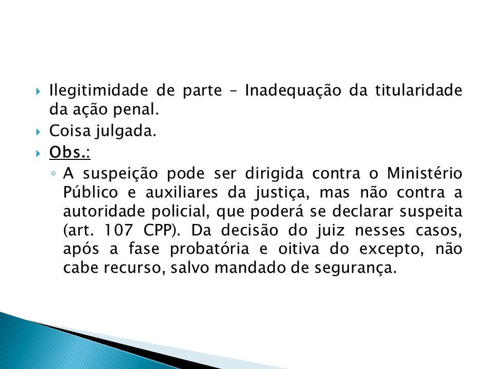 Ilegitimidade de parte – Inadequação da titularidade da ação penal.
