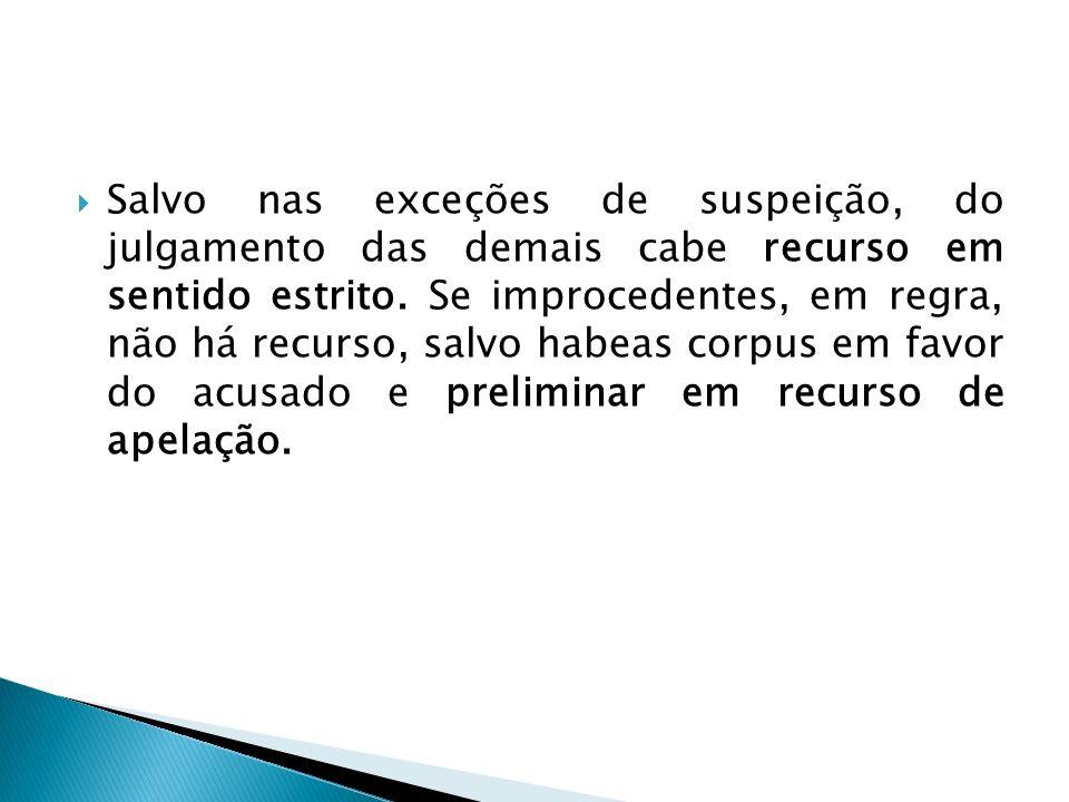 Salvo nas exceções de suspeição, do julgamento das demais cabe recurso em sentido estrito.
