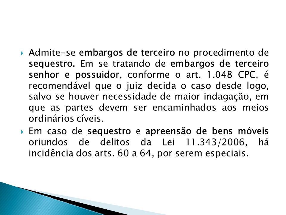 Admite-se embargos de terceiro no procedimento de sequestro