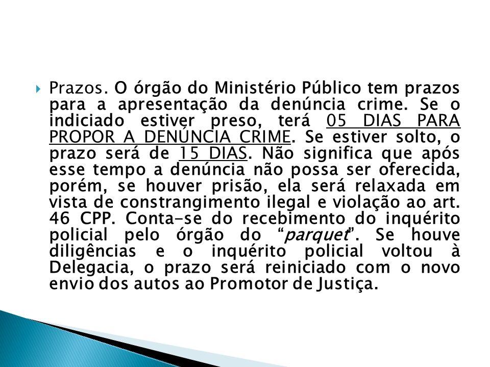 Prazos.O órgão do Ministério Público tem prazos para a apresentação da denúncia crime.