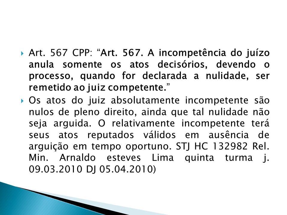 Art. 567 CPP: Art. 567. A incompetência do juízo anula somente os atos decisórios, devendo o processo, quando for declarada a nulidade, ser remetido ao juiz competente.