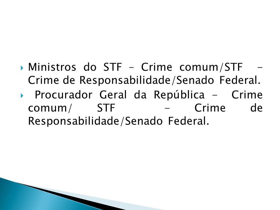 Ministros do STF – Crime comum/STF - Crime de Responsabilidade/Senado Federal.