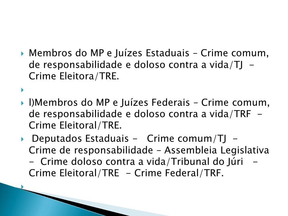 Membros do MP e Juízes Estaduais – Crime comum, de responsabilidade e doloso contra a vida/TJ - Crime Eleitora/TRE.