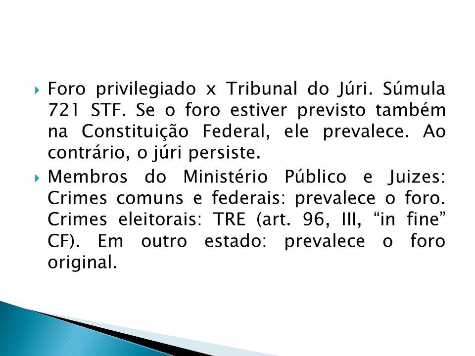 Foro privilegiado x Tribunal do Júri. Súmula 721 STF
