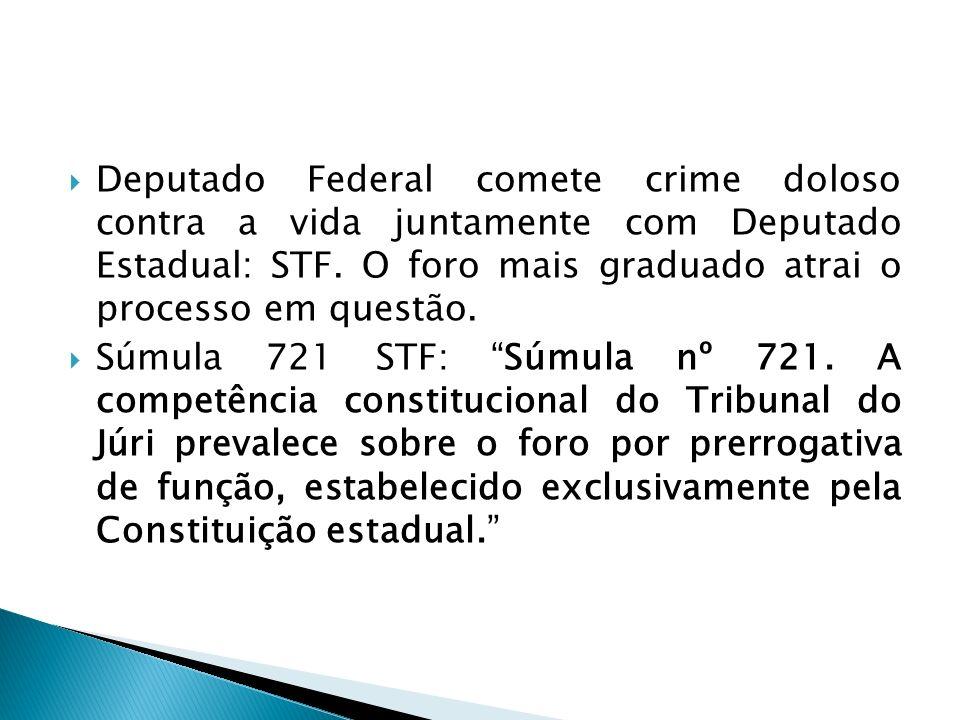 Deputado Federal comete crime doloso contra a vida juntamente com Deputado Estadual: STF. O foro mais graduado atrai o processo em questão.