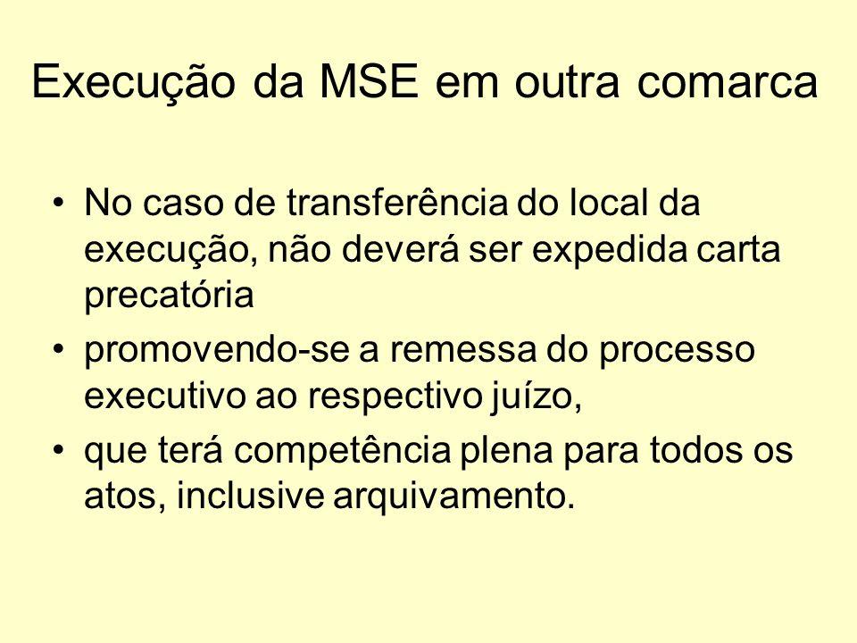 Execução da MSE em outra comarca