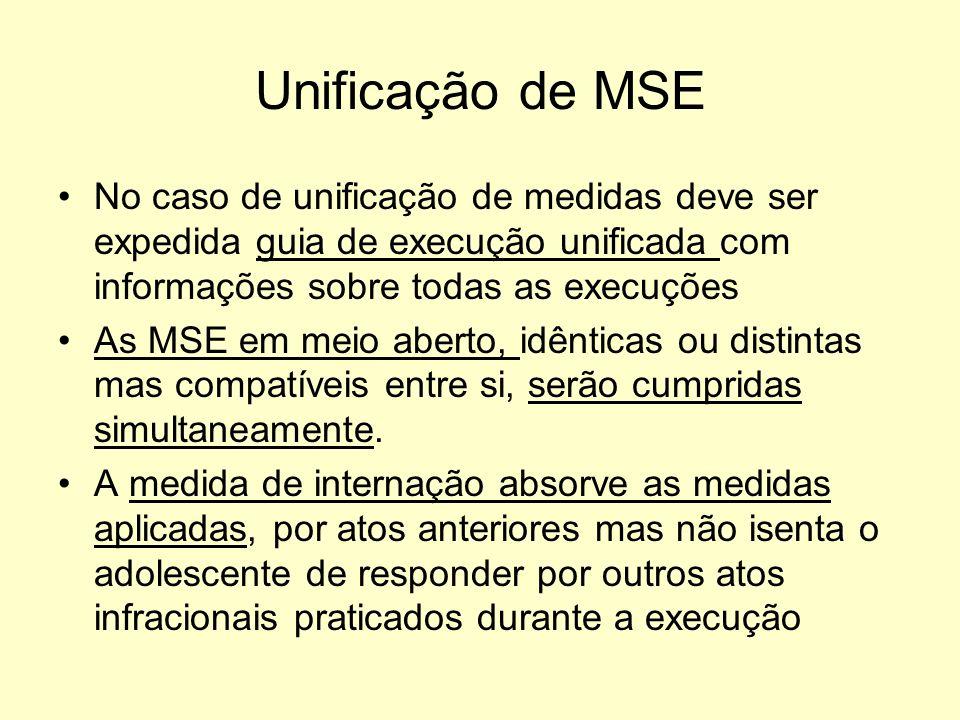 Unificação de MSE No caso de unificação de medidas deve ser expedida guia de execução unificada com informações sobre todas as execuções.