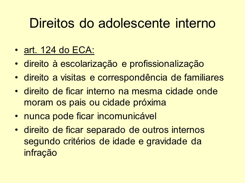 Direitos do adolescente interno