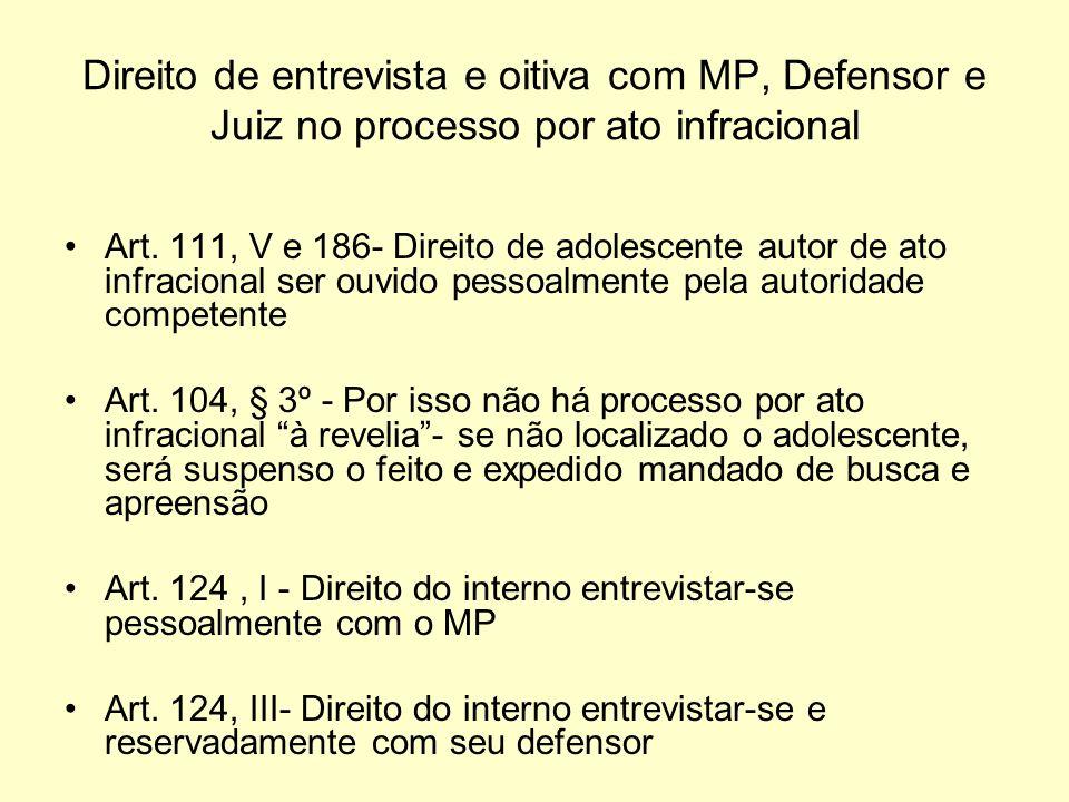 Direito de entrevista e oitiva com MP, Defensor e Juiz no processo por ato infracional