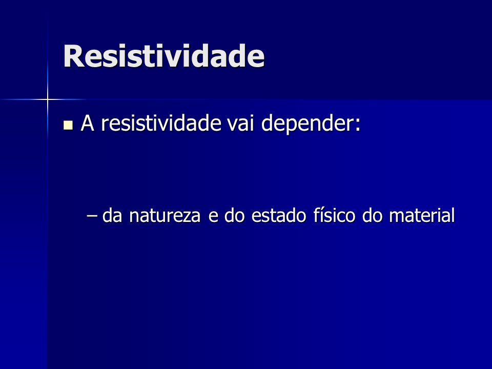 Resistividade A resistividade vai depender: