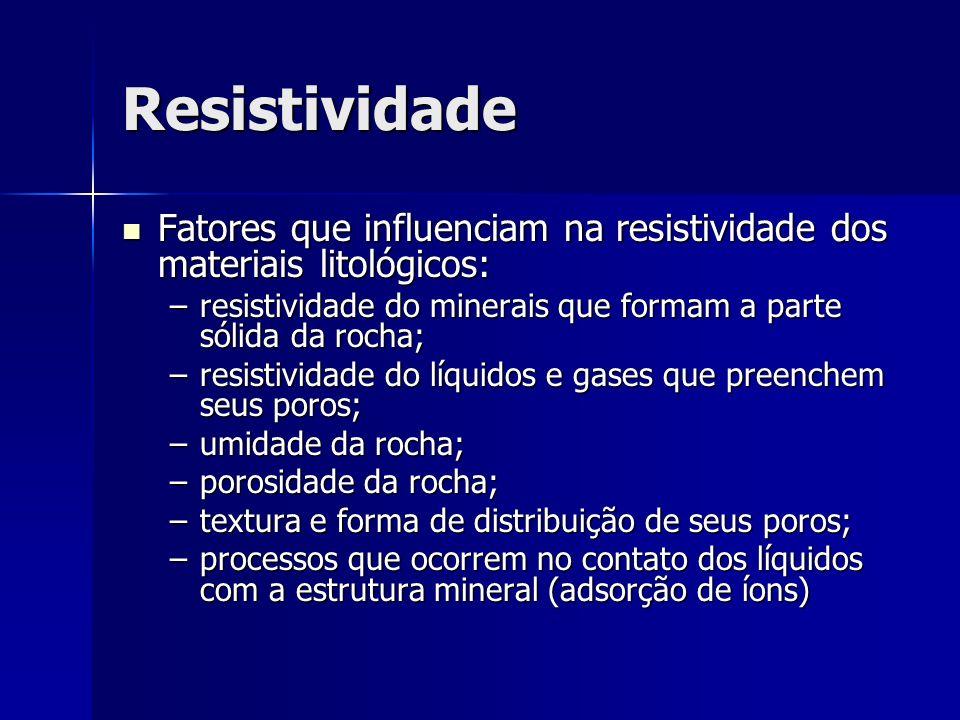 ResistividadeFatores que influenciam na resistividade dos materiais litológicos: resistividade do minerais que formam a parte sólida da rocha;