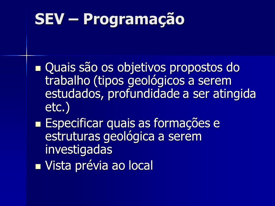 SEV – Programação Quais são os objetivos propostos do trabalho (tipos geológicos a serem estudados, profundidade a ser atingida etc.)