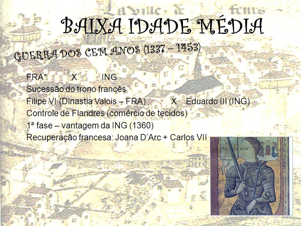 BAIXA IDADE MÉDIA GUERRA DOS CEM ANOS (1337 – 1453) FRA* X ING