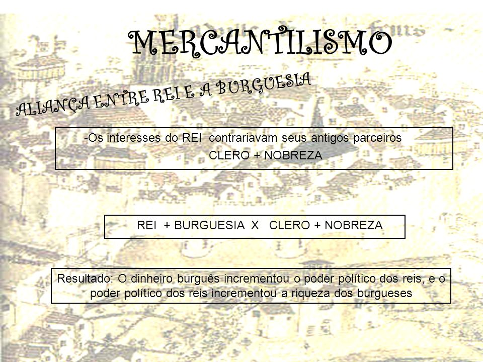 MERCANTILISMO ALIANÇA ENTRE REI E A BURGUESIA