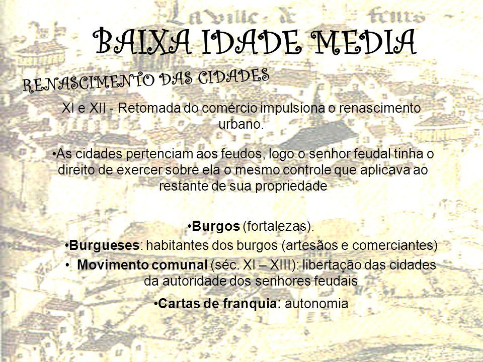 BAIXA IDADE MEDIA RENASCIMENTO DAS CIDADES