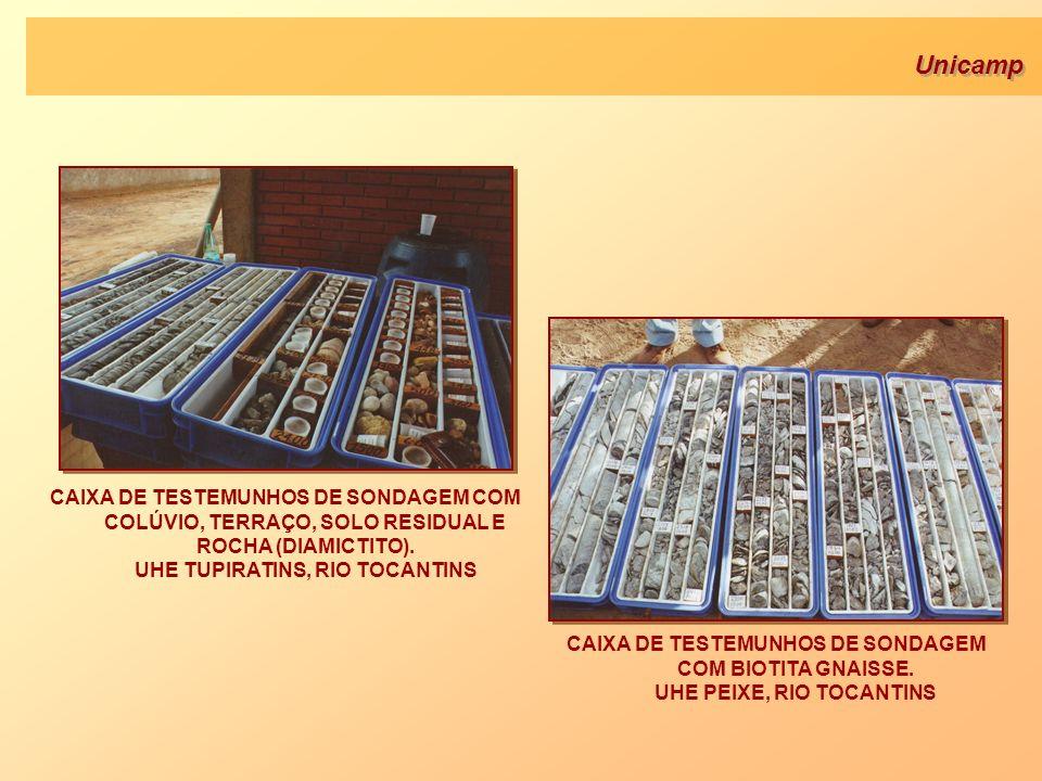 CAIXA DE TESTEMUNHOS DE SONDAGEM COM COLÚVIO, TERRAÇO, SOLO RESIDUAL E ROCHA (DIAMICTITO). UHE TUPIRATINS, RIO TOCANTINS