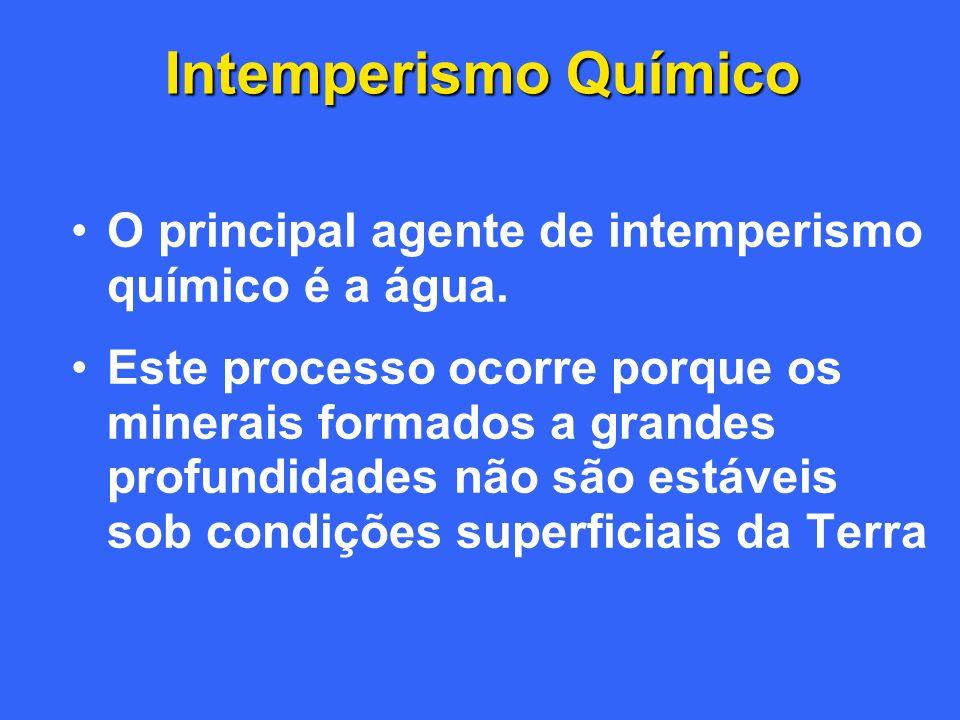 Intemperismo Químico O principal agente de intemperismo químico é a água.