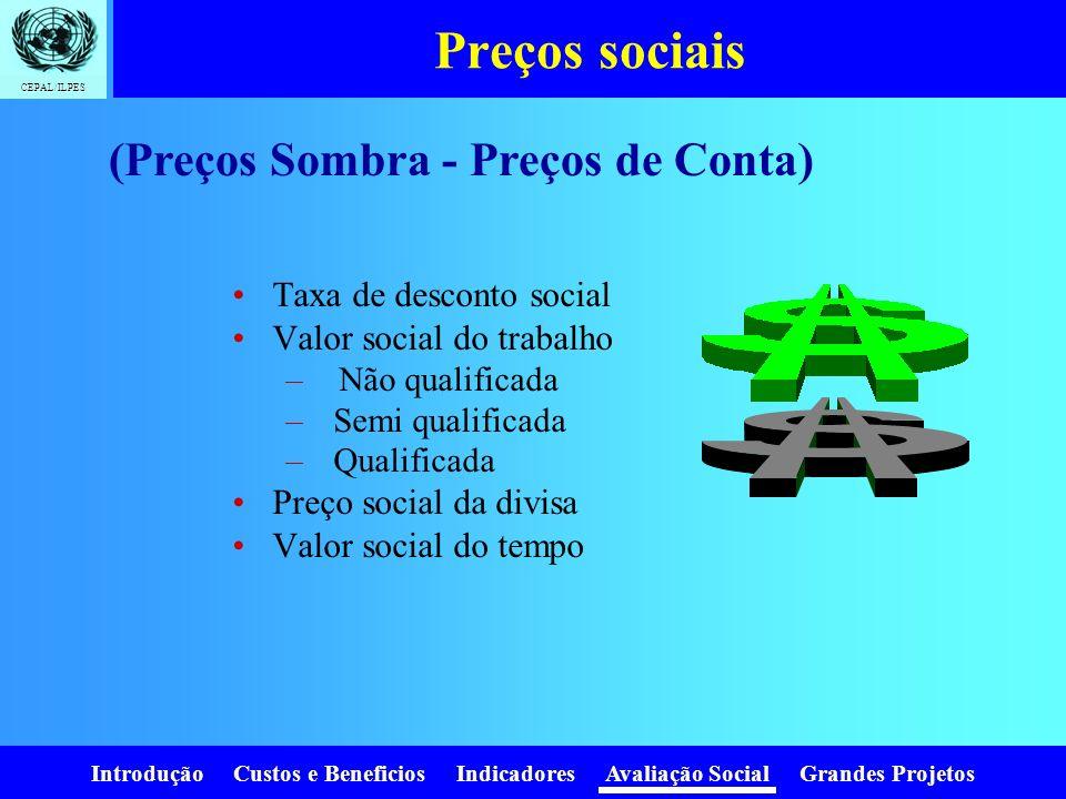 Preços sociais (Preços Sombra - Preços de Conta)