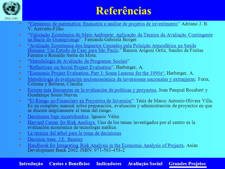 Referências Elementos de matemática financeira e análise de projetos de investimento Adriano J. B. V. Azevedo-Filho.