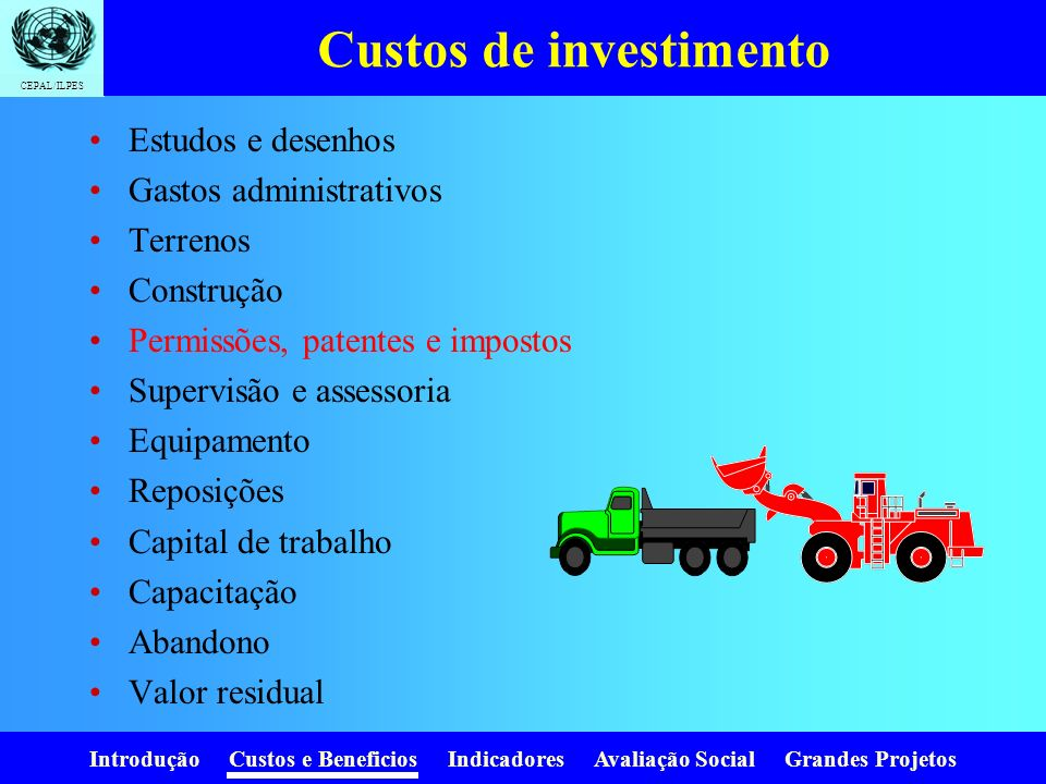Custos de investimento
