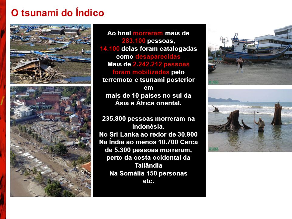 O tsunami do Índico Ao final morreram mais de 283.100 pessoas,