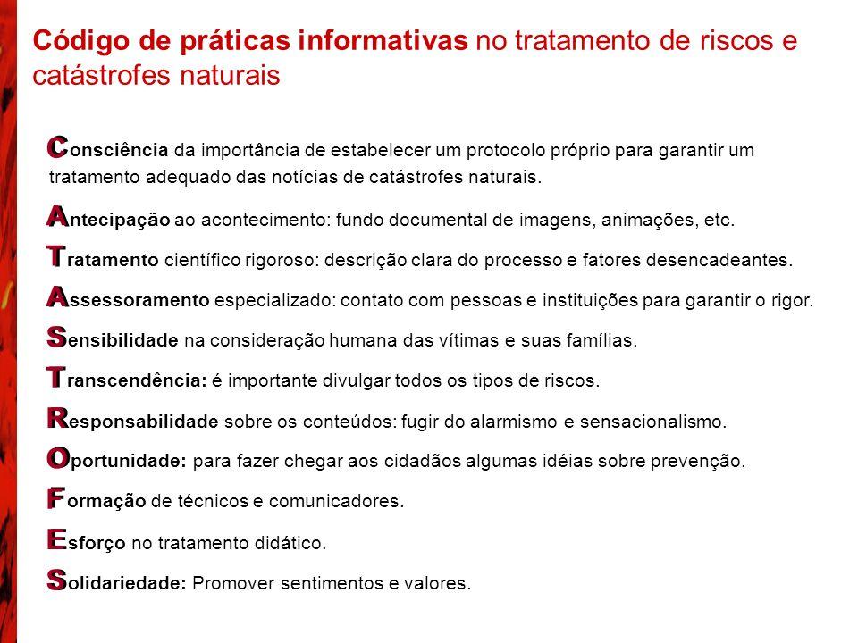 Código de práticas informativas no tratamento de riscos e catástrofes naturais