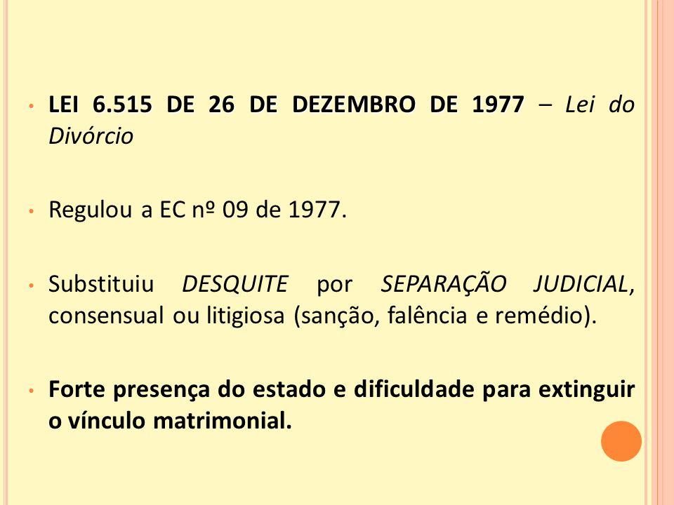 LEI 6.515 DE 26 DE DEZEMBRO DE 1977 – Lei do Divórcio