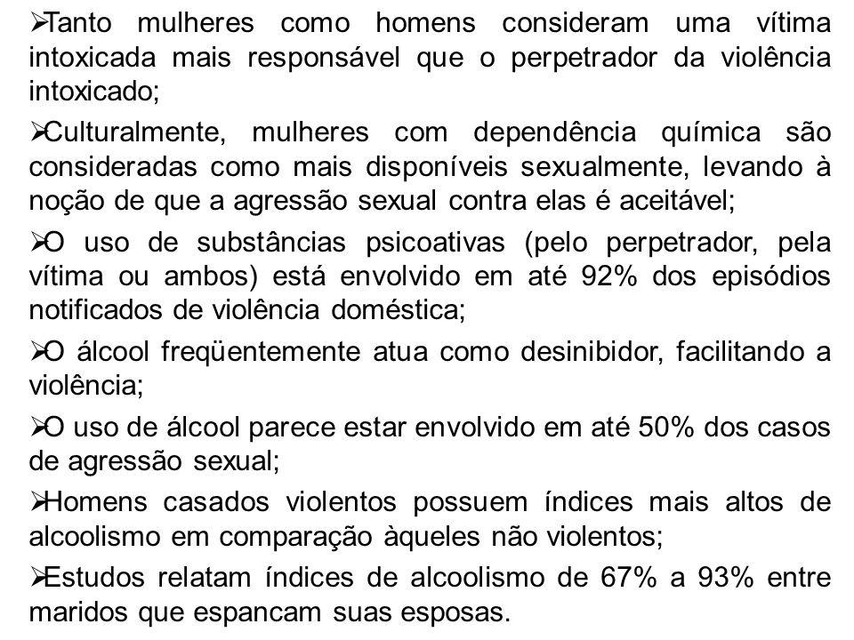 Tanto mulheres como homens consideram uma vítima intoxicada mais responsável que o perpetrador da violência intoxicado;