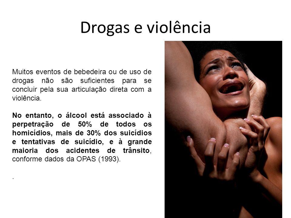 Drogas e violência Muitos eventos de bebedeira ou de uso de drogas não são suficientes para se concluir pela sua articulação direta com a violência.