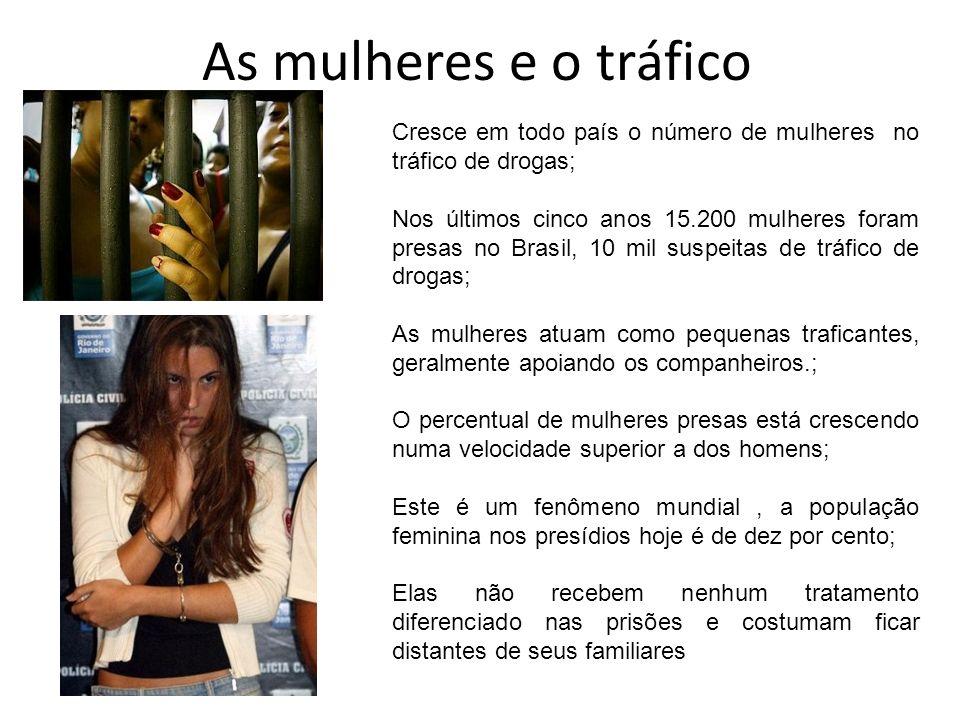As mulheres e o tráficoCresce em todo país o número de mulheres no tráfico de drogas;