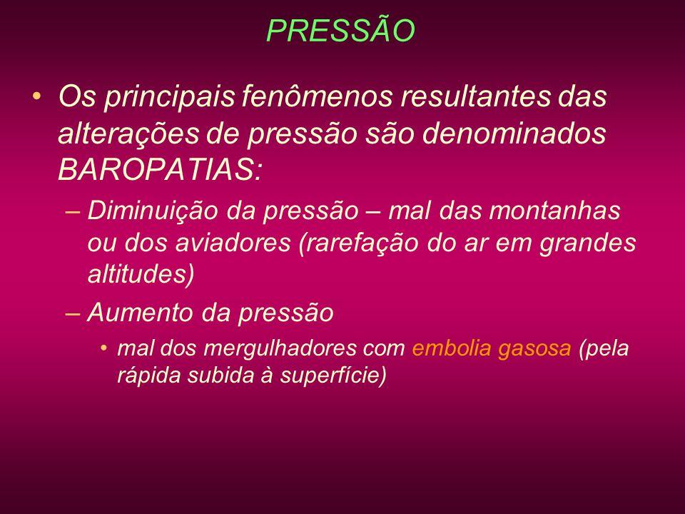 PRESSÃO Os principais fenômenos resultantes das alterações de pressão são denominados BAROPATIAS:
