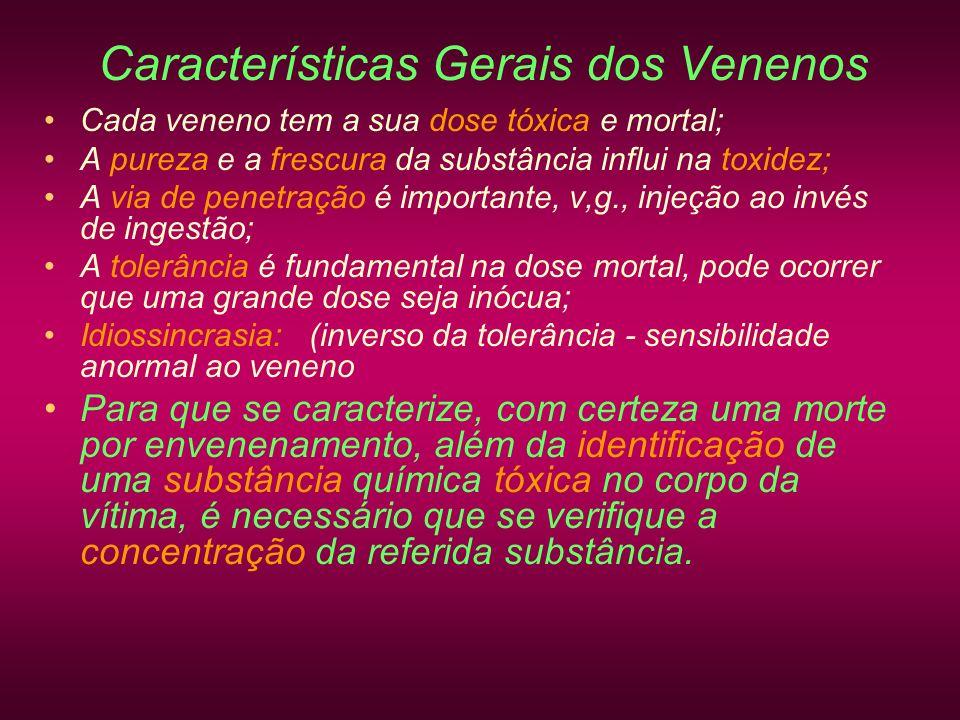 Características Gerais dos Venenos