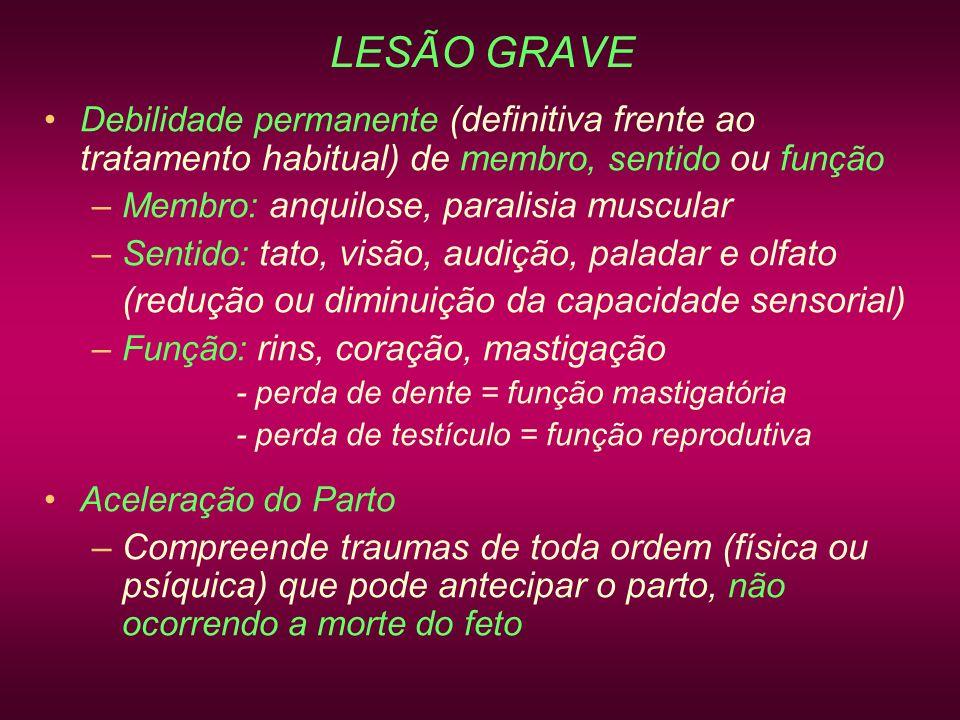 LESÃO GRAVE (redução ou diminuição da capacidade sensorial)